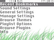 green menu screenshot